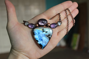 Ghostly Rainbow Moonstone Necklace