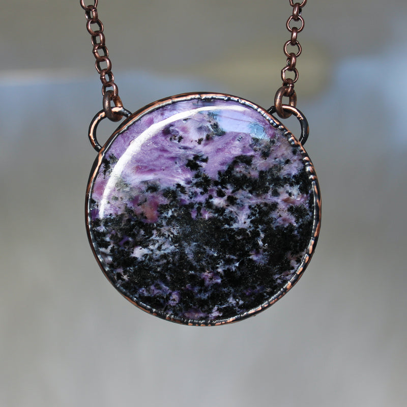 Charoite Full Moon Necklace - a