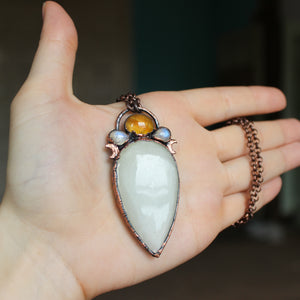 Celestial White Moonstone Necklace