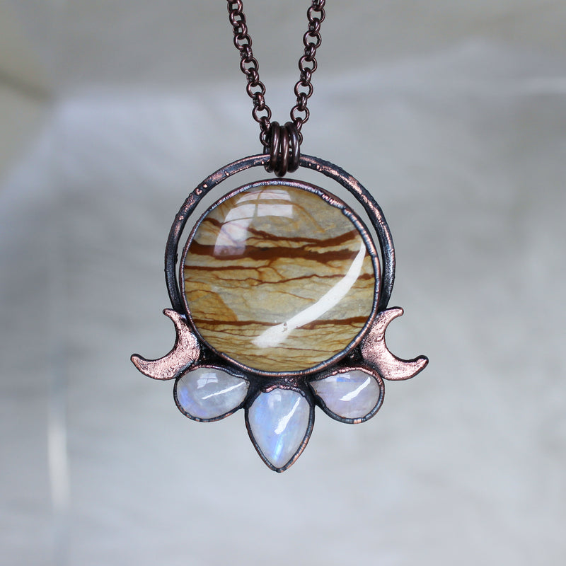 Owyhee Picture Jasper Moon Phase Necklace