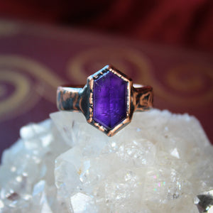 Faceted, Deep Purple Amethyst Ring Size 8.75