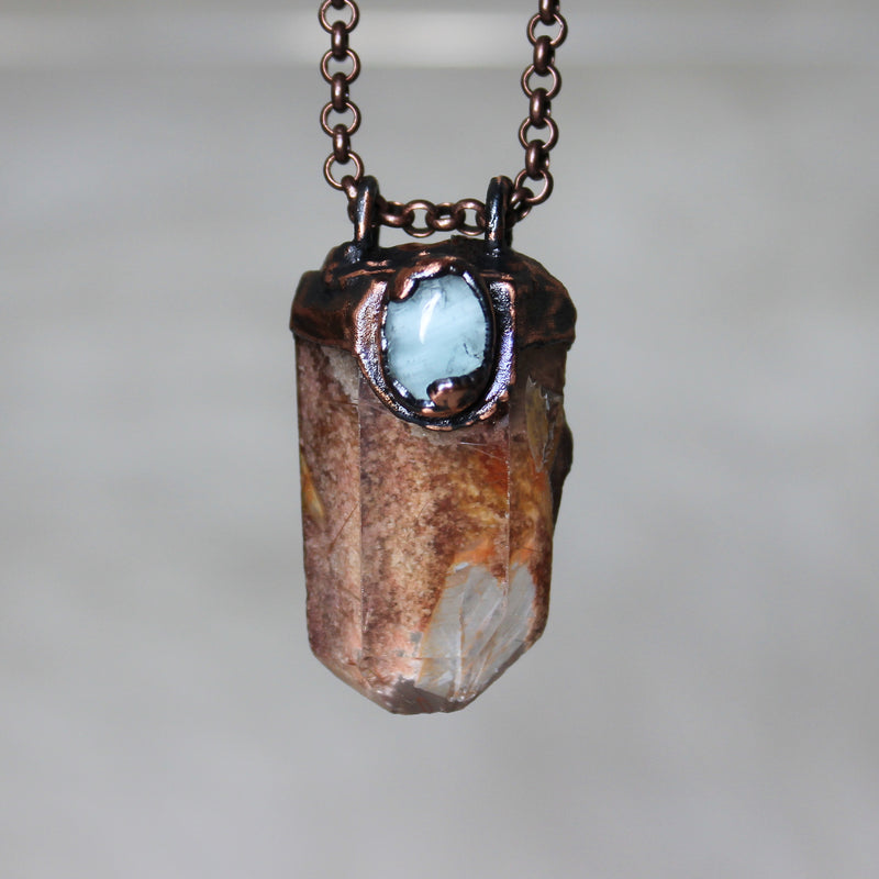 Lodolite and Aquamarine Necklace - A