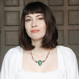 Malachite, Galaxy Opal, and Prehnite Bib Necklace