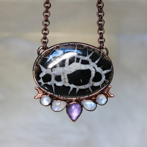 Celestial Septarian, Moonstone, & Amethyst Necklace