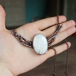 Scolecite Branch Bib Necklace