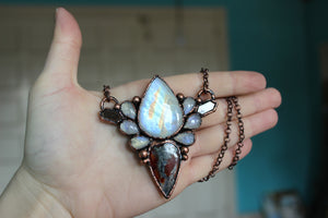 Pyrite Agate, Moonstone & Sapphire Cluster Necklace