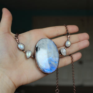 Giant Rainbow Moonstone Bib Necklace