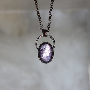 Gem Lepidolite Hoop Necklace - B