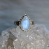 Rainbow Moonstone Prong Ring size 5.5