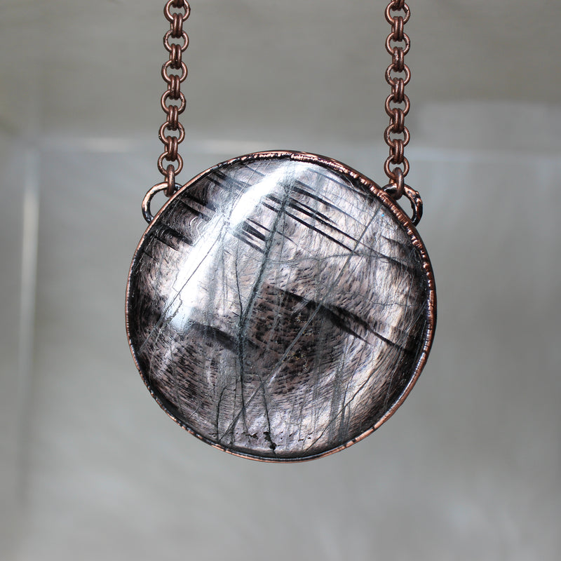 Giant Full Moon Hypersthene Necklace