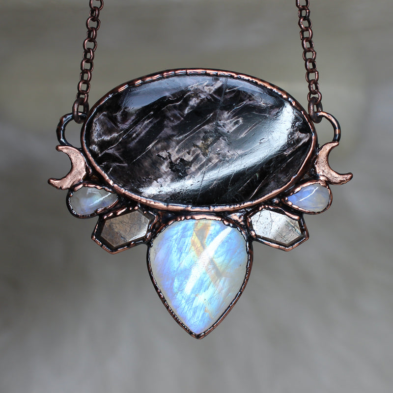 Hypersthene, Moonstone, & Sapphire Moon Phase Necklace