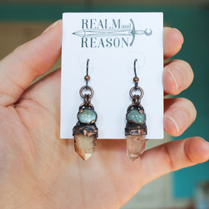 Phantom Quartz & Aquamarine Earrings - B