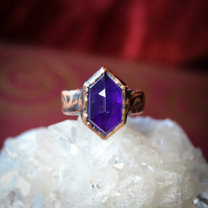 Deep Purple Faceted Amethyst Ring size 4.5