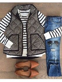 Black & White Herringbone Excursion Vest Outfit Idea
