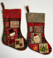 Set of 2 Plaid Snowman and Santa Stockings