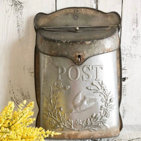 Rustic Post Metal Mailbox