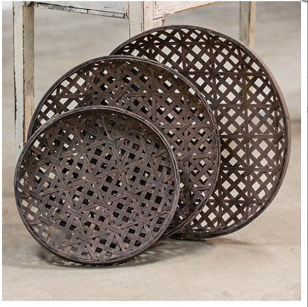 Set of 3 Woven Round Tobacco Baskets