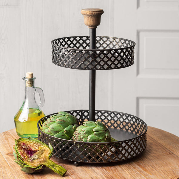 2 Tier Metal Tray with Wood Top