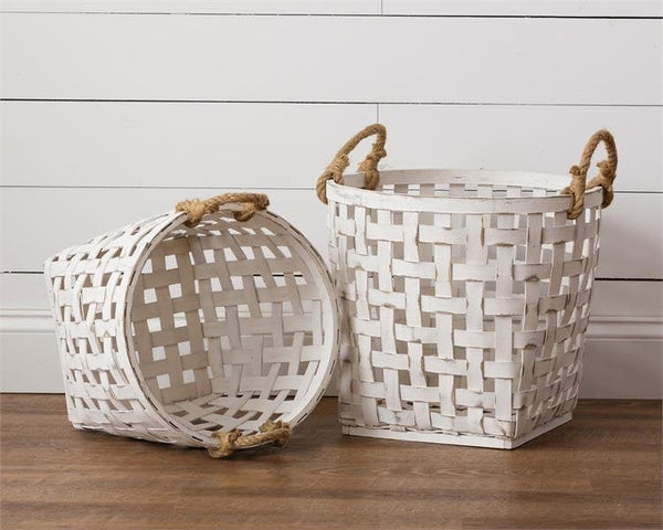 Set of 2 Woven Tobacco Baskets with Rope Handles