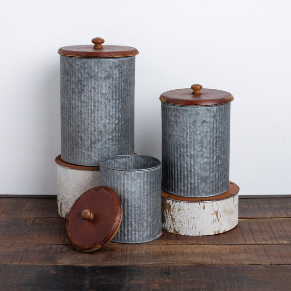 Set of 3 Round Metal Canisters with Wood Lids