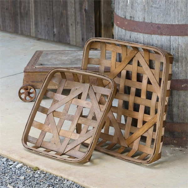 Set of 2 Square Tobacco Baskets