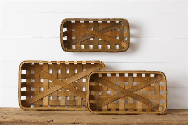 Set of 3 Rectangluar Tobacco Baskets