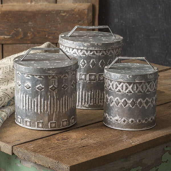 Set of 3 Galvanized Metal Canisters
