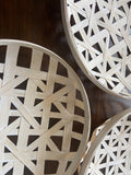 Set of 3 White Tobacco Baskets - Round