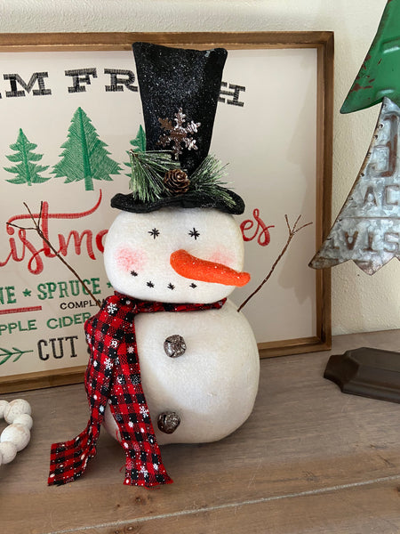 Plush Christmas Snowman with Plaid Scarf