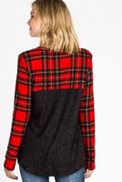 Red Plaid Color Block Top
