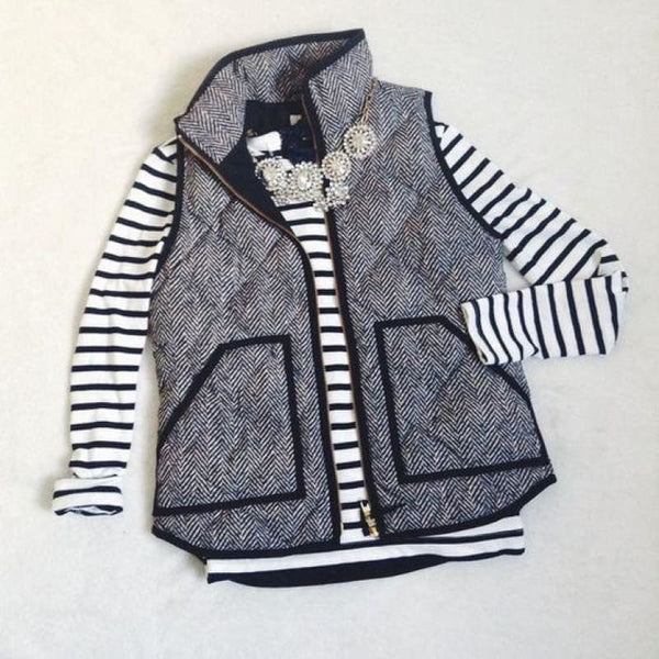 Never Look Back- Quilted Herringbone Excursion Vest - Gray / S - Vest