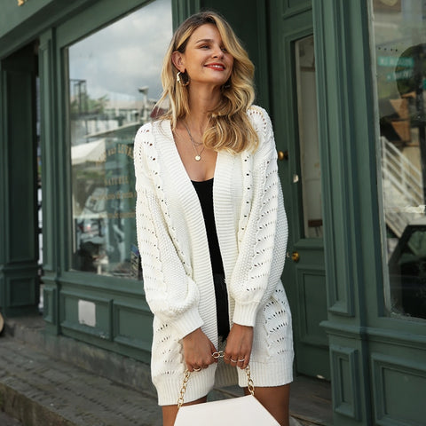 Long Knit Cardigan - White