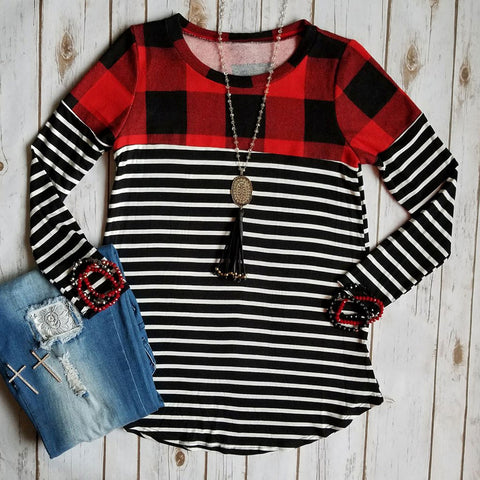 Buffalo Plaid and Stripe Long Sleeve Top