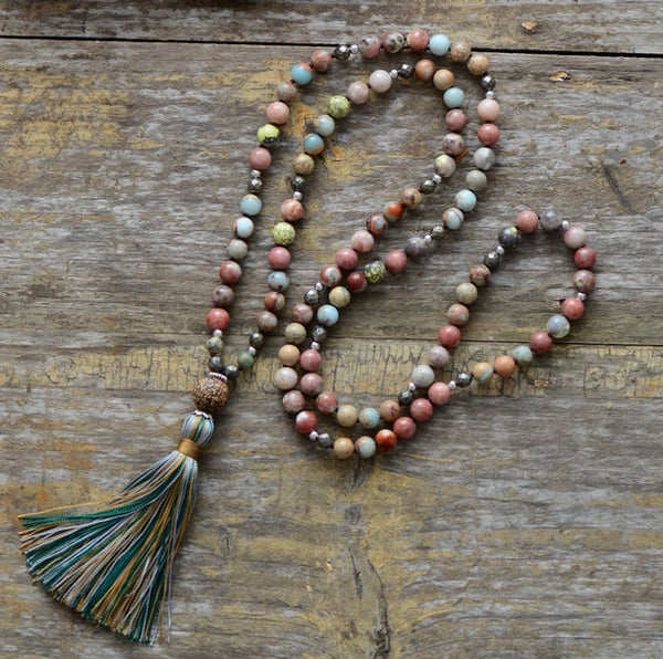 Semi Precious Stone Necklace with Tassel