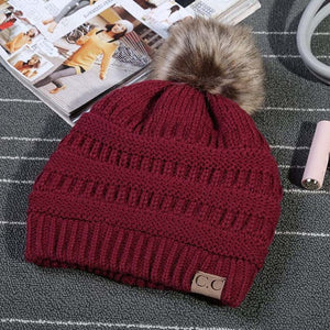 CC Knit Beanie with Faux Fur Pom Pom
