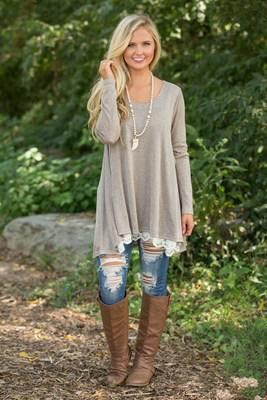 Peak-A-Boo, Lace Hem Long Sleeve Top