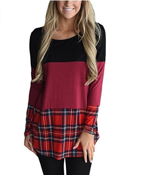 Color Block Plaid Top with Lace Back Detail