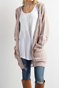 Long Cable Knit Cardigan Sweater with Pockets