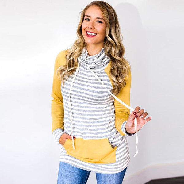 Heaven on Earth- Striped Elbow Patch Sweatshirt, Yellow