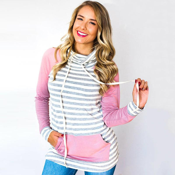 Heaven on Earth- Striped Elbow Patch Sweatshirt, Pink