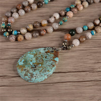 Onyx, Pyrite and Jasper Bead Pendant Necklace