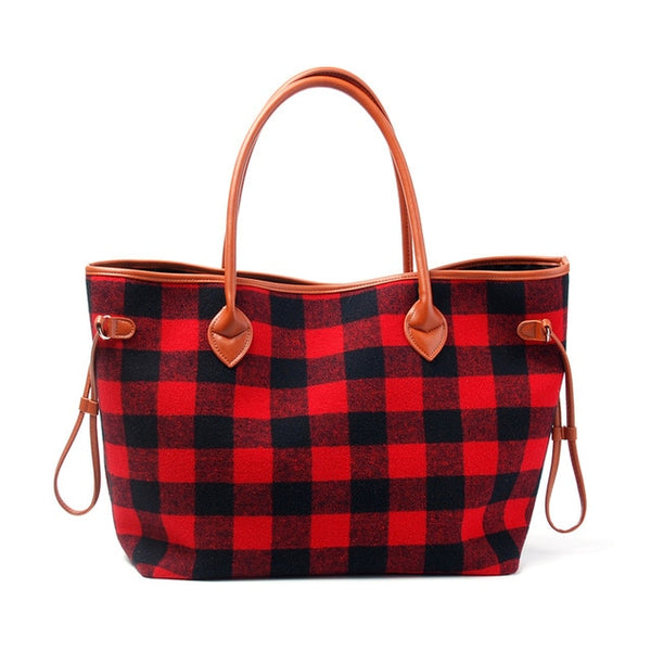Buffalo Plaid Weekender Satchel