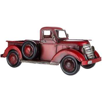 Farmhouse Red Metal Pickup Truck