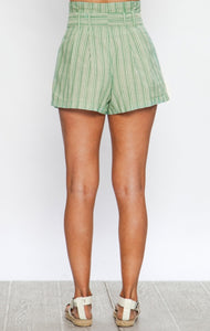 Lime stripe shorts