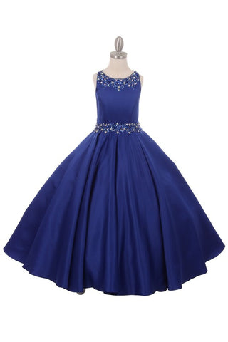 Royal Blue Satin Beaded Pageant Dress w/Pockets