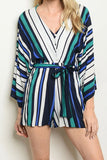 Green/Multi Striped V Neck Romper