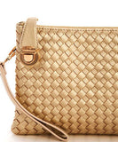 Mustard Woven Clutch Crossbody with Buckle Lock and Detachable Strap