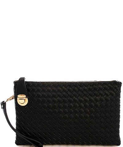 Charcoal Woven Clutch Crossbody with Buckle Lock and Detachable Strap