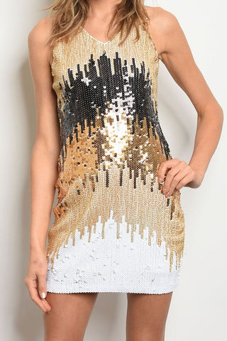 Gold, Black, White, Cream Sleeveless Sequin Tank Dress