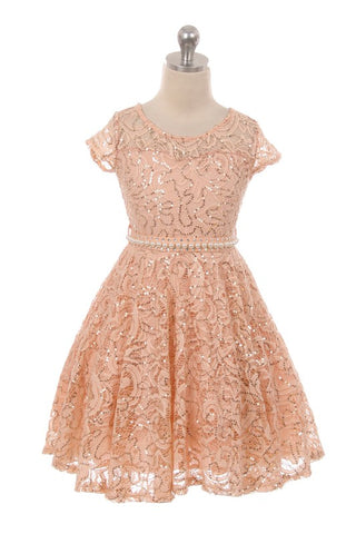 Blush Girls Lace Sequin Swing Dress